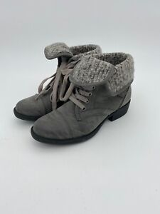 Rocketdog (C347) Gray Ankle Boot Lace Up Wear Up Or Cuffed Moto Boots/Shoes SZ 6