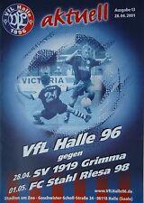 Programm 2000/01 VfL Halle 96 - SV 1919 Grimma / Stahl Riesa (nachg.)