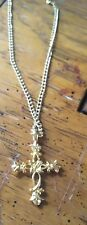 """and Necklace 18"""" Dainty Chain Ornate Religious Cross Christian Gold Pendant"""