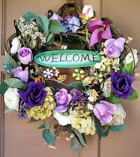 Handmade Purple Grapevine Spring Summer Everyday Wreath Lavender Rose Door Decor