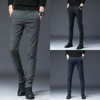 Men's Slim Fit Skinny Pencil Pants Plaid Business Formal Dress Casual Trousers