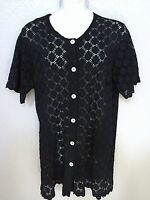 (NWT) J Valdi Black Eyelet Button Front Tunic Swimsuit Cover Up Plus Size
