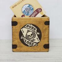 "Born To Lose Record Box 7"" Single Boxes Wooden Vinyl Crate Punk Motorhead Rocker"