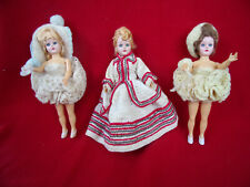 """3 Vintage 1940-50s 8"""" high heeled Hp Sewing Dolls in Hand crochet outfits"""