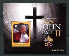 Bequia Gren St Vincent 2014 MNH Canonization Pope John Paul II 1v S/S II Stamps
