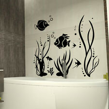 Fish sea plants bubbly Art Quote Wall Stickers Art bathroom Removable Decals DIY