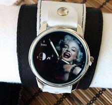Merilin Monroe Leather wrist Watch wide band Women Cllasic
