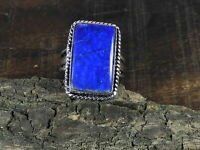 Natural Blue Lapis Lazuli 925 Solid Sterling Silver Ring Size US 8.5 o955
