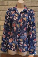 G21 BLUE PINK FLORAL BUTTONED LONG SLEEVE CHIFFON BLOUSE T SHIRT TOP 8 S