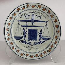 RARE Antique De Porceleyne Fles Royal Dutch Delft Plate 1919 TREATY OF VERSAILLE