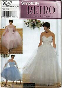 SEWING PATTERN SIMPLICITY 9247 RETRO STRAPLES PROM WEDDING DRESS 14-20 UNCUT M6B