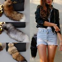 New 15.7in Fox Fur Tail Keychain Tassel Bag Tag Handbag Pendant Keyring Creative
