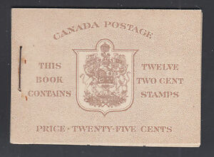 Canada Uni BK33a 1942 KGVI Intact Booklet w/ English Covers