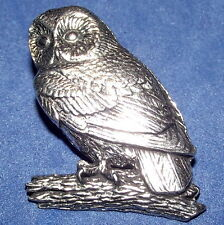 Quality Pewter Owl Brooch Pin : Craftsman Quality