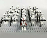 21Pcs Minifigures Red&Black Clone Star Wars Trooper 501st Clone Army Lego Moc