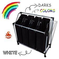 4 Section Laundry Washing Clothes Hand Bag Hamper Sorter Trolley Basket Storage