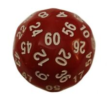 Red Color- 60 Sided Polyhedral Dice (D60)- Role Playing Game / Math Play 36mm