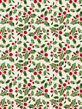 New JOHN LEWIS PVC Coated Cotton Tablecloth Fabric Remnant - Holly - Green/Red