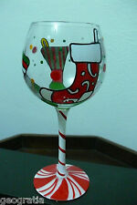 Jennifer Garant Christmas Holiday Stockings Candy Cane Stem Wine Glass