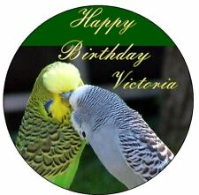 "Budgie PERSONALIZED 7.5"" Sugar Cake Topper Birthday Decoration Icing Birds"