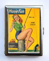 Cigarette Case Pin up Fishing Vintage Magazine Wallet Card Holder