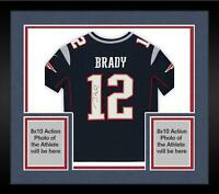 Framed Tom Brady New England Patriots Autographed Nike Limited Navy Jersey