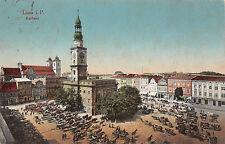 Lisa Bz. Posen Rathaus, Markt, Pferdewagen Postkarte 1916