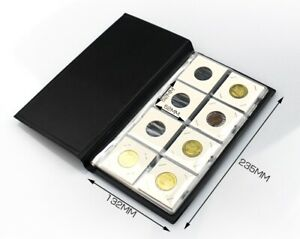 10 Pages Coin Stock Book 80 Pocket Album for 2x2 Paper Flip Holders Storage