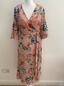 Anthropologie Maeve Adelaide Wrap Dress. Red Floral Print. Large. RRP £120
