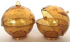 Tupperware Christmas Ball Ornament Candy Holder 2 Piece Set Gold New