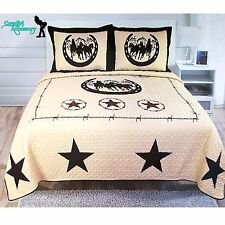 3Pcs Texas West Star Barbwire Horse Cowboy Quilt BedSpread Comforter Style-Queen