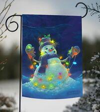 Toland Glowman Snowman 12.5 x 18 Winter Snow Christmas Lights Glow Garden Flag