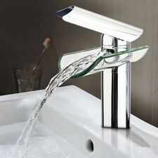 Chrome Vessel Glass Brass Waterfall Bathroom Bath Basin Sink Mixer Tap Faucet