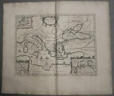 MEDITERRANEAN SEA GREECE ITALY BALKANS TURKEY  1741 ORN UNUSUAL ANTIQUE MAP