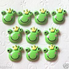 "10 pc x 3/4"" Hand Painted Resin Price Frog Flatback Embellishments w/Crown SB264"