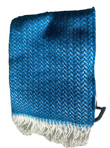 New Style Plaids Wool Blend Armchair Throw Blanket Portugal Teal Cream Fringe