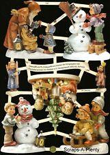 German Embossed Scrap Die Cut - Children Snowman Hummel Figurine Designs  EF7506