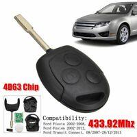Clé Télécommande 433.92Mhz 4D63 Chip pour Ford Fiesta 2002-2008 Fusion 2002-2012
