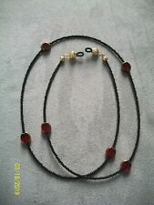 Black Seed Beads and Large Red Eyeglass Chain Holder Necklace