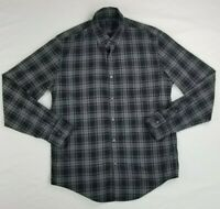 J Crew Men's Gray Black Check Plaid Medium Button Down Long Sleeve Shirt Pocket