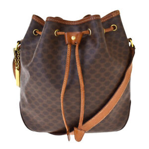 Authentic CELINE Macadam Drawstring Shoulder Bag PVC Leather Brown Italy 76BS908