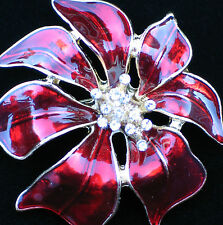 "RHINESTONE RED ENAMEL CHRISTMAS POINSETTIA FLOWER PLANT PIN BROOCH 2"" 3D LAYERED"