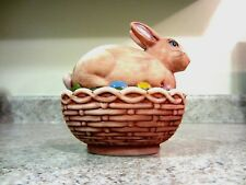 """Mosser Glass 2010 4 1/2"""" Handpainted Covered Easter Bunny Box"""