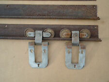 vntg nos barn door rollers hangers u0026 8 ft rustic track u0026 cover for sliding door