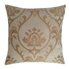 "Linen Lotus Pattern 18""x18"" Cream Decorative/Throw Pillow Case/Cushion Cover"