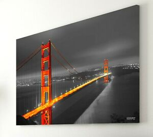 Golden Gate Bridge 30x40 Inch Stretched Canvas Print Wall Art Framed San Fran