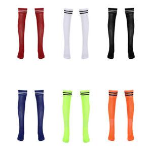 "1 Pair Men Adult Breathable Elastic Soccer Socks Knee High Striped Athletic 16"""