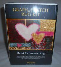 "Mcg Textiles Graph N' Latch Heart Geometric Rug Kit 27"" x 20"" Style 37614 New"
