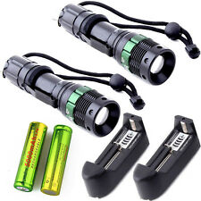 2pc UltraFire 3000LM Tactical Zoom Focus LED T6  Flashlight +18650&Smart Charger