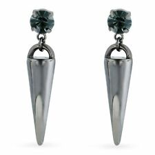 Gunmetal Black Gem Spike Stud Dangle Earrings - 1 Inch